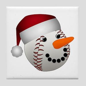 Christmas Baseball Snowman Tile Coaster