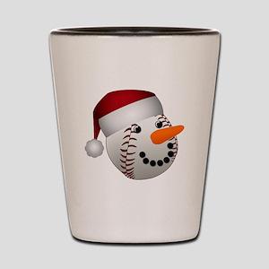 Christmas Baseball Snowman Shot Glass