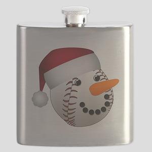 Christmas Baseball Snowman Flask