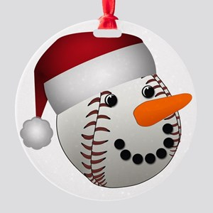 Christmas Baseball Snowman Round Ornament