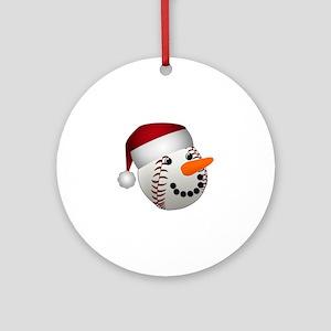 Christmas Baseball Snowman Round Ornament