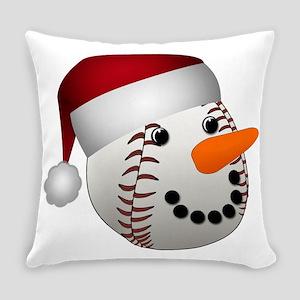 Christmas Baseball Snowman Everyday Pillow