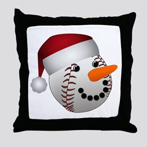 Christmas Baseball Snowman Throw Pillow