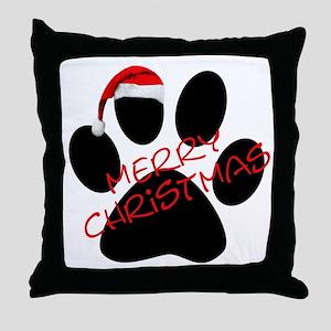 Cute Dog Paw Print Throw Pillow