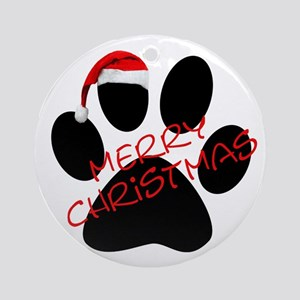 Cute Dog Paw Print Ornament (Round)