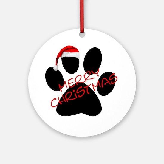Cute Dog Paw Print Ornament (Round)