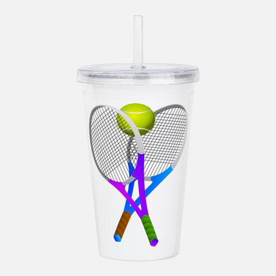 Tennis Rackets and Bal Acrylic Double-wall Tumbler