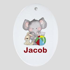 Jacob's Elephant Baby Oval Ornament