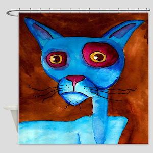 Blue Cat Shower Curtain