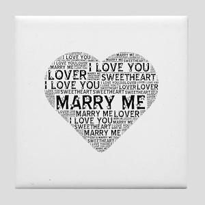 Marry Me Heart Tile Coaster