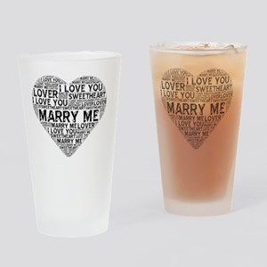 Marry Me Heart Drinking Glass
