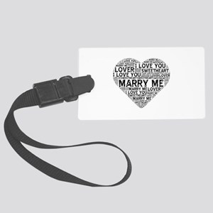 Marry Me Heart Large Luggage Tag