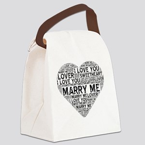 Marry Me Heart Canvas Lunch Bag