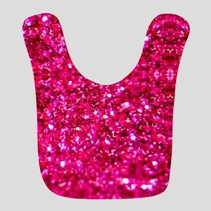 hot pink glitter Polyester Baby Bib