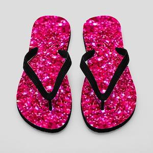 hot pink glitter Flip Flops