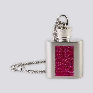 hot pink glitter Flask Necklace