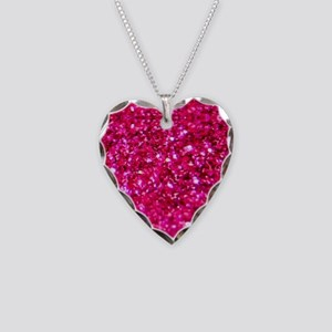 hot pink glitter Necklace Heart Charm