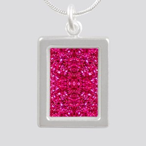 hot pink glitter Necklaces