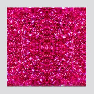 hot pink glitter Tile Coaster