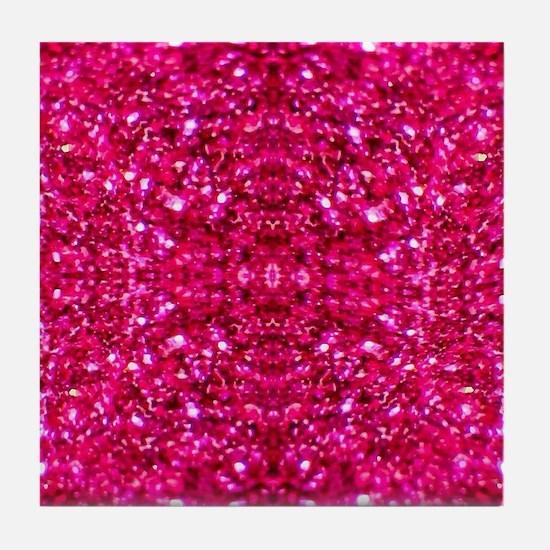 hot pink glitter Tile Coaster