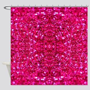 hot pink glitter Shower Curtain