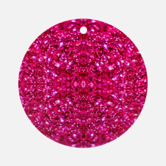 hot pink glitter Round Ornament