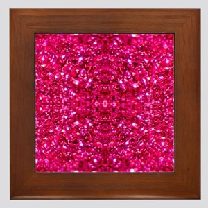 hot pink glitter Framed Tile