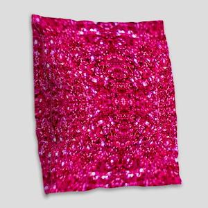 hot pink glitter Burlap Throw Pillow
