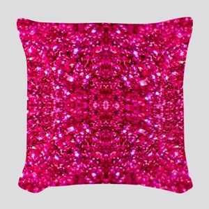 hot pink glitter Woven Throw Pillow