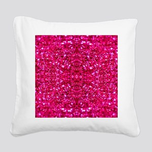 hot pink glitter Square Canvas Pillow