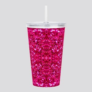 hot pink glitter Acrylic Double-wall Tumbler