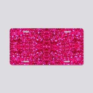 hot pink glitter Aluminum License Plate