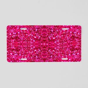 hot pink glitter Aluminum License Plate
