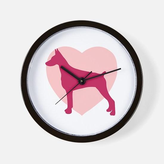 Doberman Pinscher Valentine's Day Wall Clock