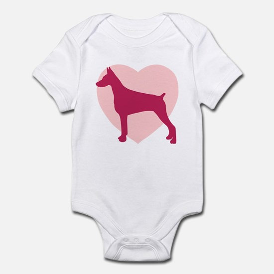 Doberman Pinscher Valentine's Day Infant Bodysuit