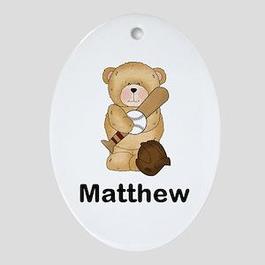 Matthew's Baseball Bear Oval Ornament