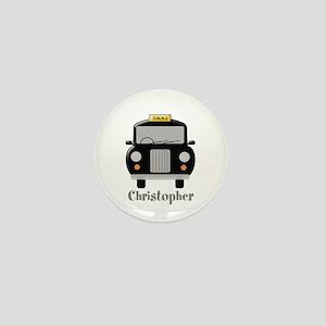 Personalized Black Taxi Cab Design Mini Button