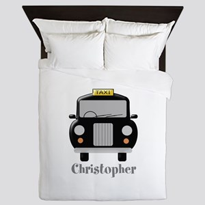 Personalized Black Taxi Cab Design Queen Duvet