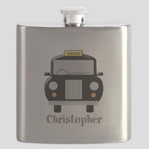 Personalized Black Taxi Cab Design Flask