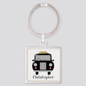 Personalized Black Taxi Cab Design Keychains