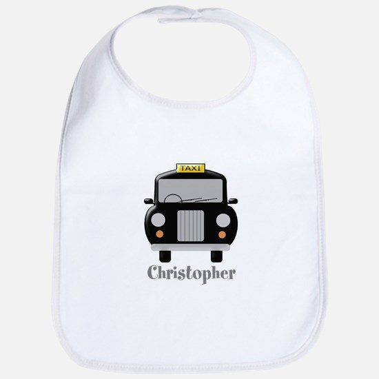 Personalized Black Taxi Cab Design Baby Bib