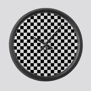 Black Checkers Large Wall Clock