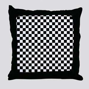 Black Checkers Throw Pillow