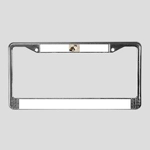 Tortoiseshell and White Cat License Plate Frame