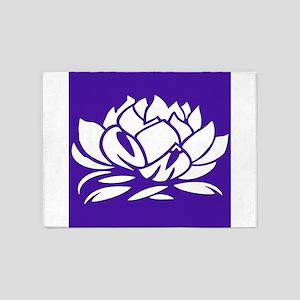 Violet & White Lotus 5'x7'Area Rug