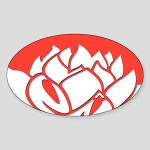 Red & White Lotus Sticker