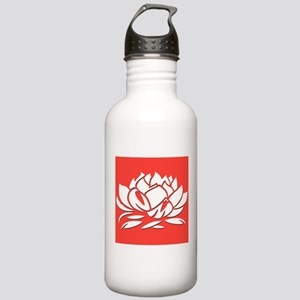 Red & White Lotus Stainless Water Bottle 1.0L