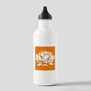 Orange & White Lotus Stainless Water Bottle 1.0L