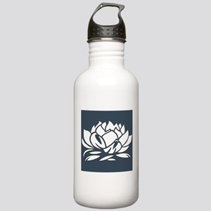 Gray & White Lotus Stainless Water Bottle 1.0L