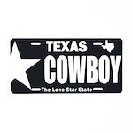 Texas Cowboy Aluminum License Plate